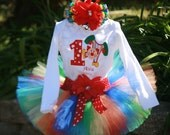 Birthday Tutu Outfit, Circus Clown 3 piece set: embroidered shirt, tutu, headband available in long or short sleeve
