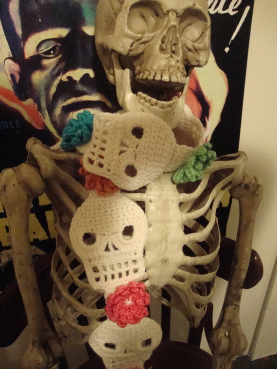 Cute Crochet Skull Scarf in White Sparkle with by ...
