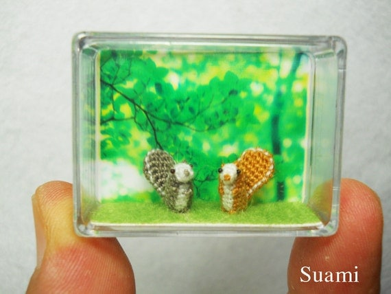 Extreme Tiny Squirrels - Micro Amigurumi Crochet Miniature Animal - Set of 2 Squirrels - Made To Order