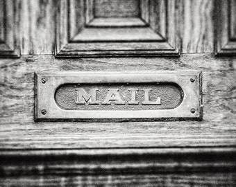 Mail Slot Print or Canvas Art, Black & White Photograph, Kitchen Decor, Mudroom Decor, Entry Decor, Foyer Decor, Vintage Mail Art, Door.