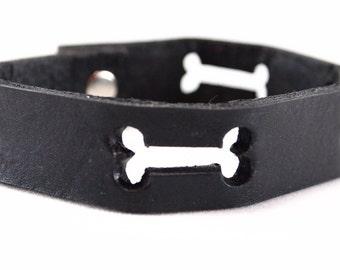 Dog Bones Black Leather Bracelet for Humans