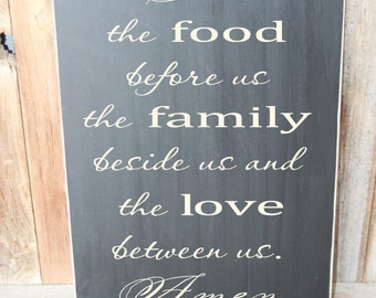 Bless the food before us, the family beside us... wood subway art wall hanging with vinyl lettering