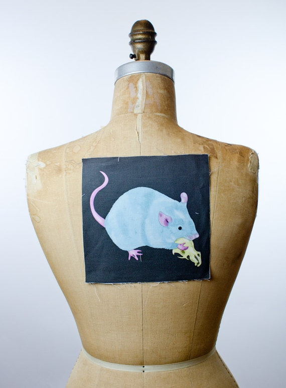 """printed canvas patch - Cannibal Mouse - 7"""" x7"""""""