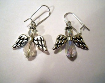 Angel earrings, iridescent and silver