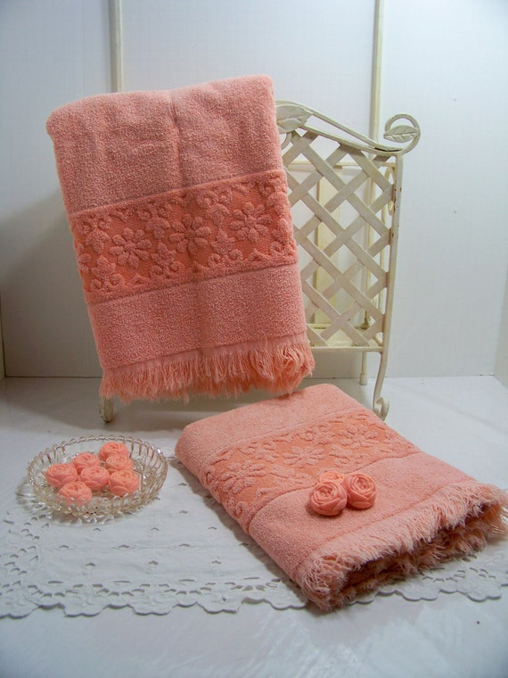 Vintage Jc Penny Towels Peach Terry Bath Towels