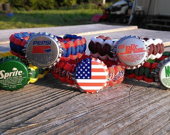 Soda Pop Bottle Cap Paracord 550 Bracelet
