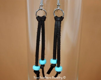 Leather Fringe Earrings - Leather Earrings - Native American Inspired - Brown And Turquoise - Tribal - Boho - Gift For Her - Hippie