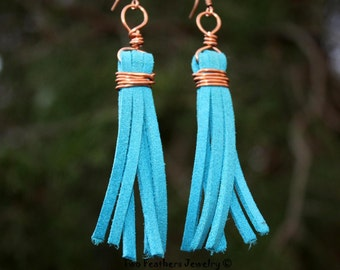 Turquoise Leather Fringe Earrings - Copper Wire Wrapped Earrings - Turquoise Earrings - Leather Earrings - Copper Earrings - Gift For Her
