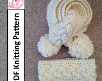 PDF KNITTING PATTERN - Braided cable scarf and headband