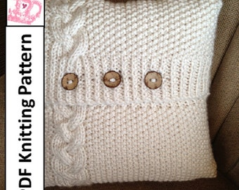 Knitting Pattern For Cushion Cover Chunky Wool : Popular items for knitted pillow cover on Etsy