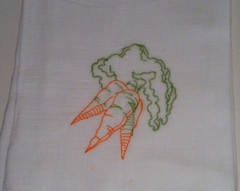 Fruits and Vegetables Tea Towels Flour Sack Towels with Vintage Embroidery Mother's Day Gift