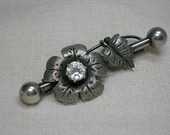 Russian Silver Brooch, Flower & Crystal, Bar Pin, Soviet era