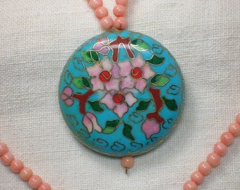 Chinese Necklace, Cloisonne & Angelskin Coral, 1980s or Earlier