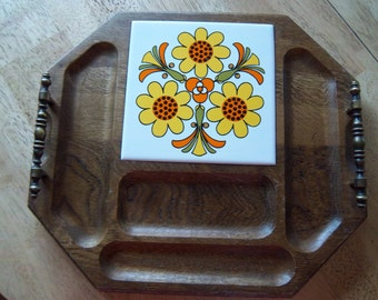 Vintage Wooden Octagon Serving/Cheese Tray with Handles