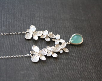 Silver Orchid Necklace, Light Blue Wedding, Silver Necklace, Bridesmaid Jewelry, Bridal Jewelry, Bridesmaid gifts, Best Friend Gift for mom