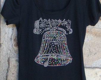 70s BEADED LIBERTY BELL top vintage t-shirt S