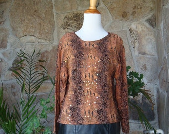 90s SNAKESKIN SEQUIN CROP top vintage rayon blouse S