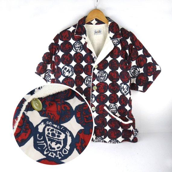 Vintage Mens Cabana Terry Cloth Swim Beach Shirt Jacket Cover