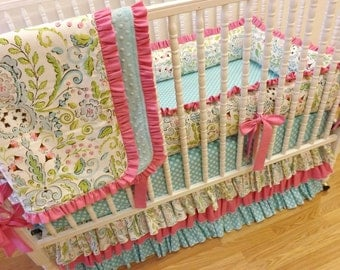 Girl Crib Bedding- Baby Bedding- Lovebird Baby Bedding- MADE TO ORDER- 4 pc Crib Bedding Set
