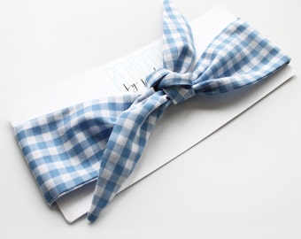 Blue Gingham Head Scarf - Headband