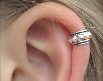 Ear Cuff - Rock Star - High Ear Cartilage - Sterling Silver - SINGLE SIDE