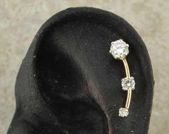 Cartilage Earring Pin with Three Cubic Zirconias - 14K Gold Filled or Sterling Silver