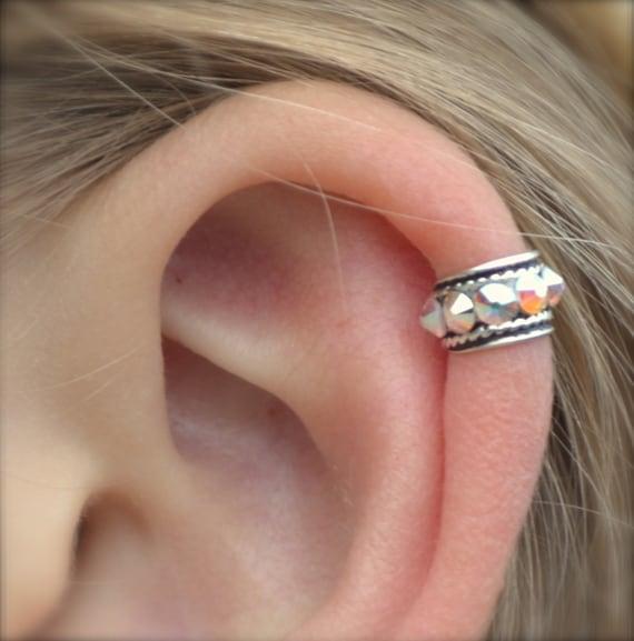 Ear Cuff Rock Star High Ear Cartilage Sterling Silver