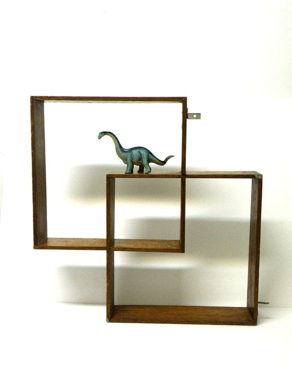 Geometric Wood Oak Square Book Shelf Wall Shadow Boxes