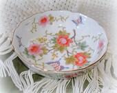 Vintage Otagiri Bowl.  Empress Pattern.  Porcelain. Soft Pastel Floral & Butterflies.