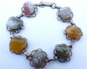 Vintage Multicolored Stone Bracelet Vintage Bracelet Earth Tone Bracelet Large Stone Bracelet Silver Bracelet Chunky Bead Bracelet
