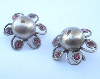 Vintage Purple Earrings Plum Earrings Purple Flower Earrings Silver Purple Crystal Earrings Sarah Coventry Earrings Flower Silver Earrings