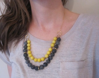 Necklace - black and yellow two strand stone and gold short necklace - Australian jewellery - winter fashion