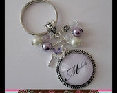 PERSONALIZED Granny, Gran, Mom, Name Purple With Tinker Bell Charm Bezel With Glass Dome Pendant Necklace Or Keychain With Matching Beads