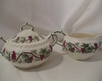 Antique Harker Royal Gadroon Sugar and Creamer Grape Vine Pattern