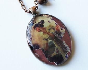 Hamsa cameo, hamsa vintage style necklace, Hamsa necklace, vintage Hamsa necklace