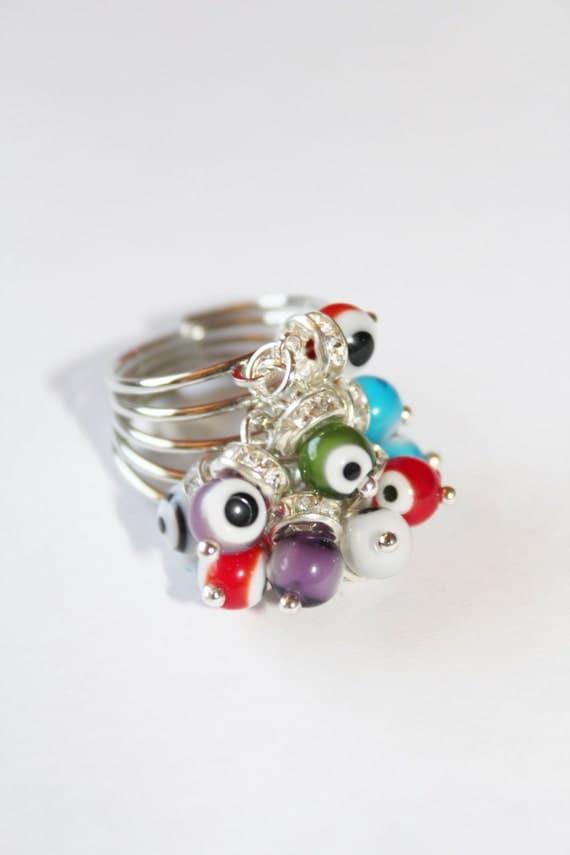 evil eye ring, silver ring, evil eye charms