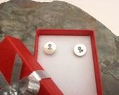 Sterling silver cancer awareness stud, hope earrings, metal stamped studs