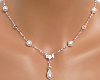 Pearl Drop Bridal Necklace, Bridal Jewelry, Bridal Pendant, Bridesmaids Jewelry, Wedding Jewelry