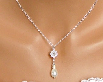 Bridal Jewelry Set. Pearl Drop. Bridesmaids Jewelry Set. Wedding Jewelry Set. Crystal White Pearl Pendant