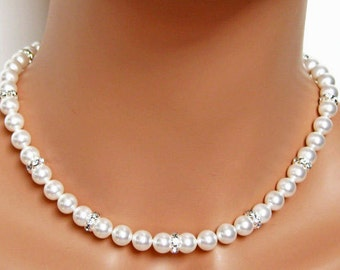 Classic Pearl Rhinestone Necklace, Bridal Necklace, Mother of the Bride Necklace, Wedding Jewelry