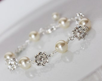 Cream Pearl Wedding Bracelet, Crystal Bridal Bracelet, Bridal Jewelry, Bridesmaids Bracelet