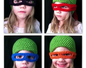 TMNT inspired hat & masks PDF crochet hat pattern- sizes toddler to adult