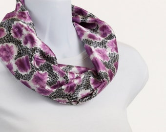 Short  Silky Infinity Scarf  African Violet Purple Floral and Geometric Design ~ SK102-S5