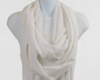 Anytime White Long Infinity Scarf -  with Soft Crinkle Lines ~ SH189-L1