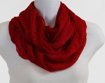 Playful Infinity Scarf - True Red - Lovely Wide Sheer Flouncy solid knit ~ K072-L5