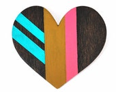 Hand painted wood heart brooch pin - Valentines Day