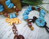 ELEPHANT CHINESE MARBLE  Beaded Necklace Bracelet Set  Blue Marble Beads Brown Wood  Picture Jasper Beaded Necklace and Bracelet