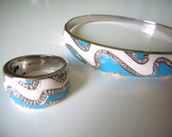 DIAMOND BRACELET RING  Set  White Diamonds and Aqua Blue Enamel Bracelet and Ring Set
