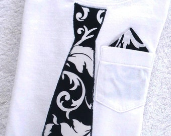 Tie T Shirt Toddler / Black and White Damask