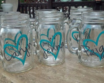 Set of 6 Personalized Mason Jars 16 oz Heart Design Bridesmaids/ Weddings/ Girls Night Out/ Bachelorette Party